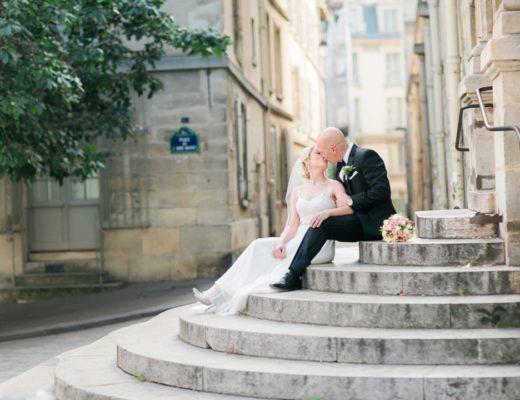 Paris wedding elopement photographer Fine art film Eiffel Tower romantic wedding gown dress bridal bouquet hair makeup
