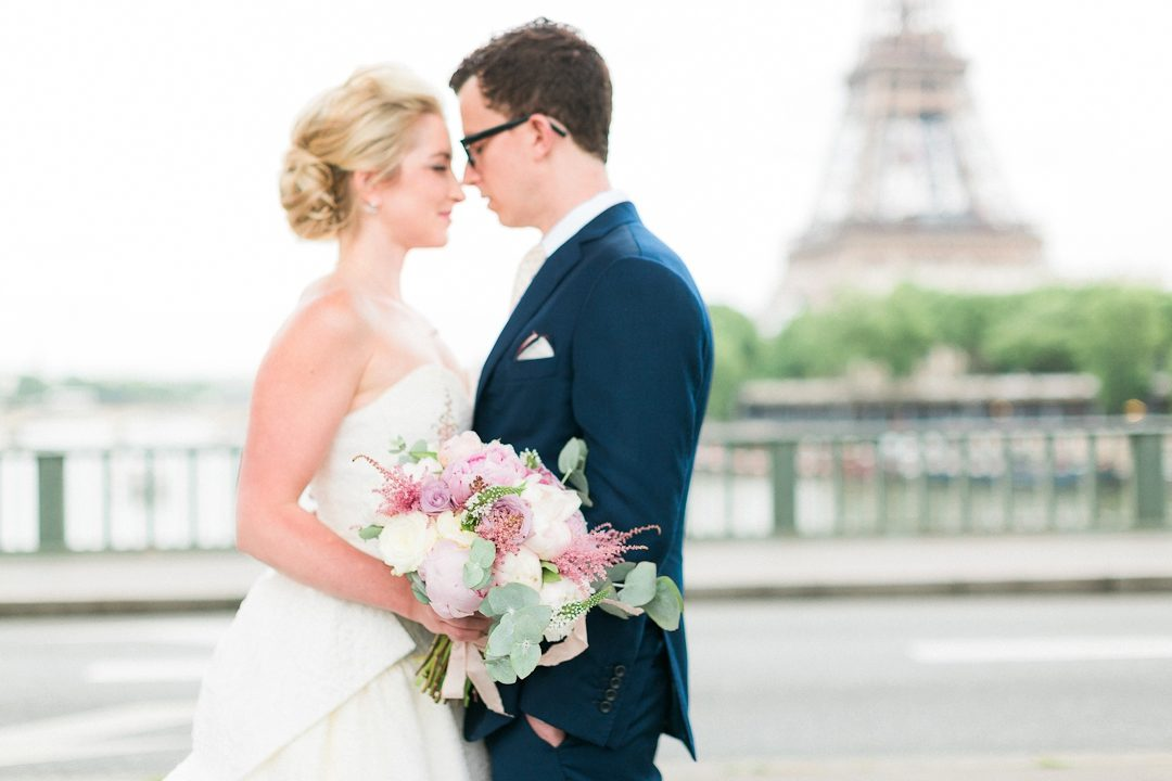 Paris wedding photographer elopement Eiffel Tower Fine art film bride boquet destination wedding