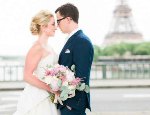 Paris wedding photographer elopement Eiffel Tower Fine art film bride boquet destination wedding