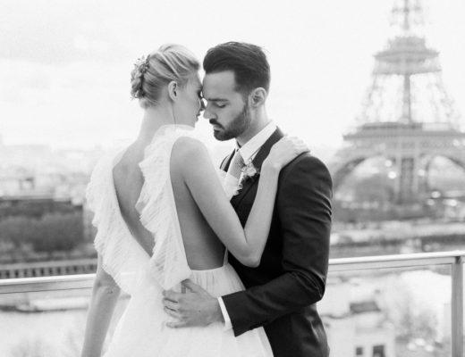 Paris elopement styled shoot film photographer wedding Shangri-La Eiffel Tower fine art